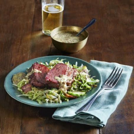 Spice Rubbed Corned Beef with Mustard Honey Horseradish Sauce