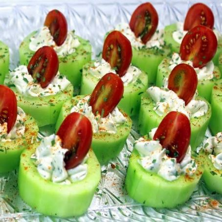 Cucumber Bites with Herb Cream Cheese & Cherry Tomatoes