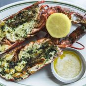 Maine lobsters grilled with herbs and lemon