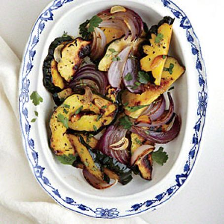 Roasted Red Onions & Delicata Squash