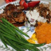 Glazed Pork Tenderloin, Squash, Mashed Potatoes, Green Beans, Strawberries and Blackberries