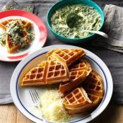 Whole Wheat Waffles with Chicken and Spinach Sauce