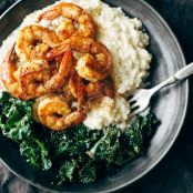 spicy shrimp with cauliflower mash and garlic kale