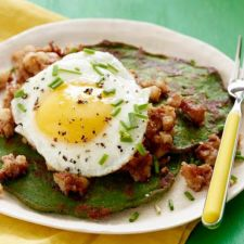 St. Patrick's Day Spinach Pancakes & Corned Beef Hash