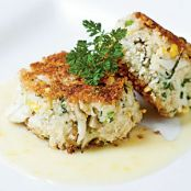 Sweet Corn Leek and Basil Crab Cakes