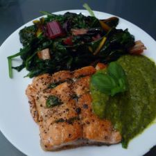 Seared Salmon with Tomatillo Coulis