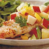 Macadamia Nut Crusted Chicken with Apple Salsa