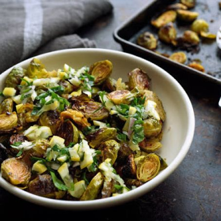 Honey-Roasted Brussels Sprouts With Harissa and Lemon Relish