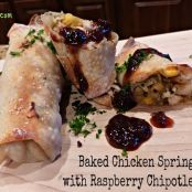Baked Chicken Spring Rolls with Raspberry Chipotle Sauce