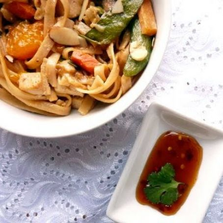 Vegetarian Mandarin Orange Lo Mein with a Sweet and Spicy Chili Sauce