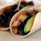 Tacos with Spinach, Mushroom, Potato and Caramelized Onions