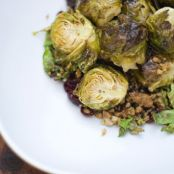 Duck Fat Roasted Brussels Sprouts with Cranberries and Almonds