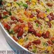 Red Kidney Beans & Corn Salad with Rice