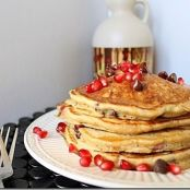 Pomegranate chocolate chip pancakes by Running to the Kitchen | Feastie