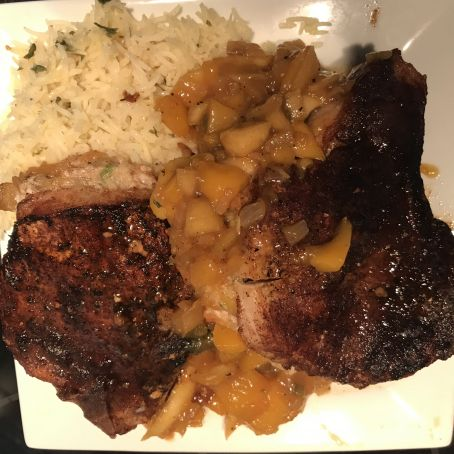 SPICE-RUBBED PORK CHOPS WITH APPLE, MANGO AND POMEGRANATE CHUTNEY  Adapted from Bobby Flay