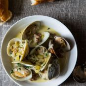 CLAMS: Drunken Clams with Sausage + Grilled Garlic Toast