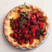 Lemon-Basil Custard Pie with Red Berries