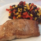 Grilled Salmon & Black Bean Salsa