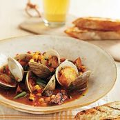 Grill-Braised Clams and Chorizo in Tomato Saffron Broth