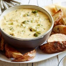 Roasted Broccoli & Cheddar Cheese Dip with Potato Wedges