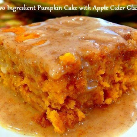 Two ingredient pumpkin cake and cider glaze