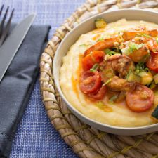 Southern-Style Shrimp & Grits with Zucchini, Corn & Cherry Tomatoes
