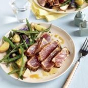 Maple & Mustard Seared Tuna with Potato-Bean Salad