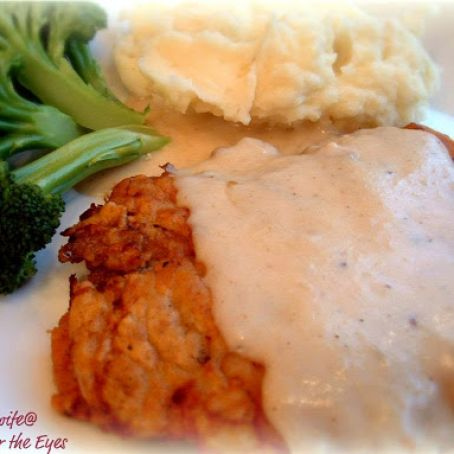 Chicken Fried Steak with Milk Gravy, adapted from the Pioneer Woman