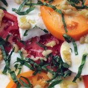 Tomato -Heirloom Caprese Salad with Buffalo Mozzarella and Toasted Pine Nuts