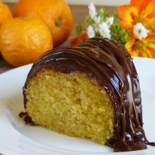 Orange Cake with Creme Fraiche and Chocolate Drizzle