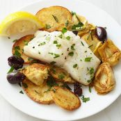 Roast Cod with Artichokes