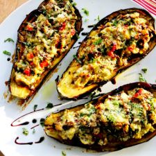 Stuffed Eggplant with Ricotta, Spinach & Artichoke
