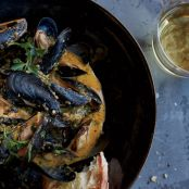Mussels with Cava and Roasted Carrot Romesco