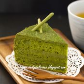 CAKE - Green Tea Chiffon Cake with Green Tea White Chocolate Whipped Ganache