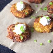 Sweet Potato Cakes with Smoked Black Cod & Dill Cream