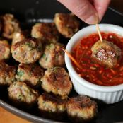 Vietnamese Pork Meatballs with Sweet-Tangy Garlic Dipping Sauce