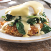 Crab Cake Eggs Benedict with Sauteed Spinach