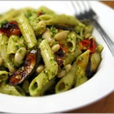 White Bean Pesto Pasta with Fast-Roasted Tomatoes and Zucchini
