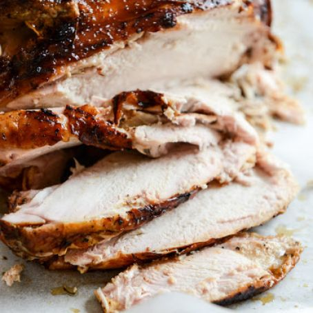 Applewood Smoked Turkey Breast with Cider Bourbon Gravy