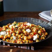A Warm Pan of Chickpeas, Chorizo and Chevre