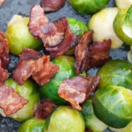 Roasted Brussels Sprouts with Shallots & Bacon