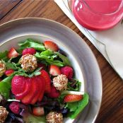 Red Berry Salad with Granola-Crusted Goat Cheese