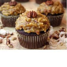 German Chocolate Cupcakes with Bavarian Cream Filling