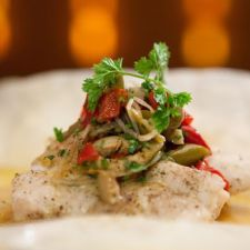 Grouper Steamed in Parchment with Sour Orange Sauce and Martini Relish