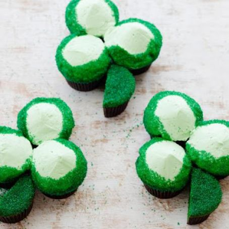 St. Patrick's Day Green Velvet Cupcake Shamrocks