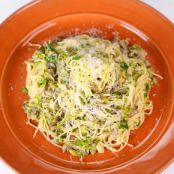Angel Hair with Bacon, Brussels Sprouts, and Mushrooms