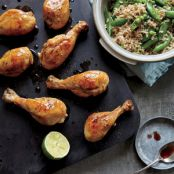 Honey-Lime Drumsticks with Snow Peas & Brown Rice