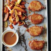 Cider Dijon Pork Chops with Roasted Sweet Potatoes & Apples