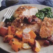 Hazelnut Chicken with Roasted Squash and Wilted Spinach