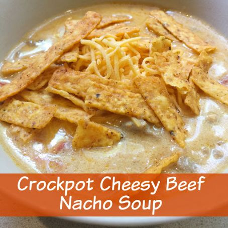 Crockpot Cheesy Beef Nacho Soup
